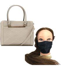 bolsa feminina grande de ombro com alça removível areia com brinde
