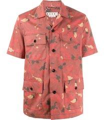 marni camouflage-print cargo pocket shirt - red