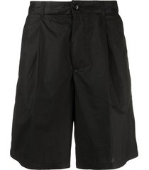 emporio armani pleat-detail cotton bermuda shorts - black