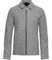 boiled wool zip through jacket gebreide trui cardigan grijs junk de luxe