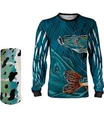 camisa + máscara pesca quisty pintado moleque azul proteção uv dryfit infantil/adulto - camiseta de pesca quisty