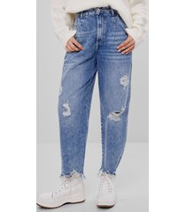 balloon fit jeans met gerafelde zoom