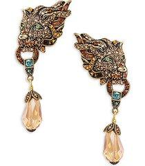 goldtone & crystal lion earrings