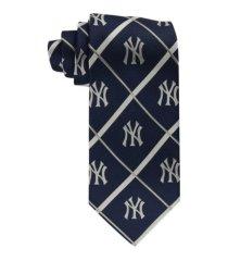 eagles wings new york yankees silver line woven silk tie