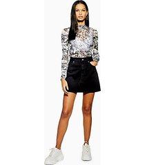 black high waisted denim skirt - black