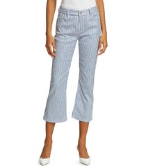 piazza sempione women's striped cropped flare pants - size 48 (14)