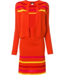 john galliano pre-owned striped knitted skirt suit - yellow