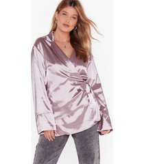 womens sleek the truth plus satin blouse - mink