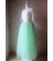 mint green maxi length 4 layer full tulle skirt custom bachelorette tutus nwt