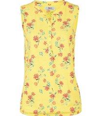 top in jersey a fiori con elastico al fondo (giallo) - bpc bonprix collection
