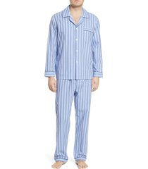men's majestic international estate cotton pajamas, size medium - blue