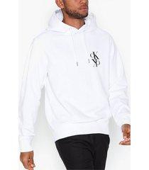 calvin klein jeans back mirrored monogram hoodie tröjor vit