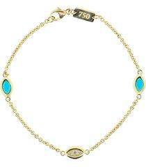 blue enamel and diamond cats eye bracelet