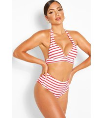 mix & match nautical moulded triangle bikini top, red