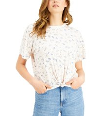 self esteem juniors' floral-printed knot-front ringer t-shirt