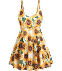 skirted sunflower printed tankini swimwear