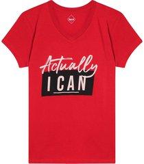 camiseta mujer actually i can color rojo, talla l