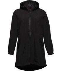 zaspen, soft shell jacket parka lange jas jas zwart zizzi