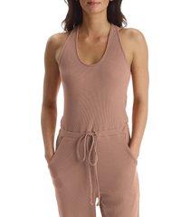 women's commando luxury rib racerback jumpsuit, size small - brown