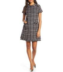 petite women's harper rose tweed shift dress, size 10p - black