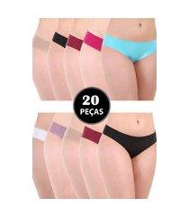 20 calcinha fio isa belly lingerie corte a laser sem costura cores sortidas