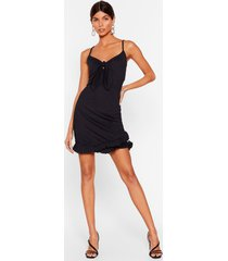 womens in the flick of time tie mini dress - black