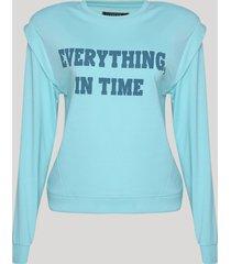 """blusão de moletom feminino muscle """"everything, in time"""" com sobreposição azul claro"""