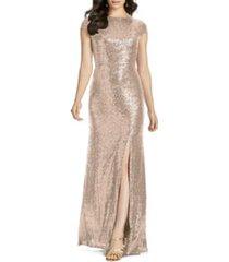 women's dessy collection elle cap sleeve sequin gown