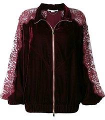 lace panel track jacket burgundy