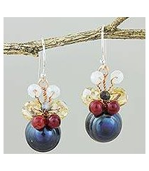 cultured pearl dangle earrings, 'butterfly party in black' (thailand)