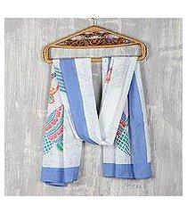 cotton batik shawl, 'abstract peacock' (india)