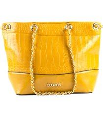 bolso femenino tipo cartera amarillo con textura croco marca cosmos