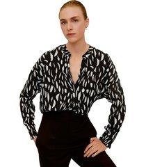 blusa negro-beige mng