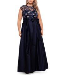 xscape plus size illusion-top ballgown