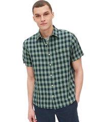 camisa lino blend manga corta hombre verde gap