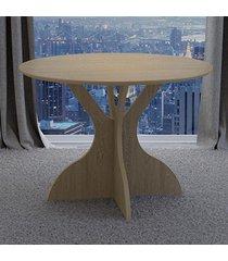 mesa de madeira 100% mdf redonda tm11 carvalho - dalla costa