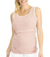 angel maternity stripe ribbed maternity/nursing tank, size xx-large in red at nordstrom