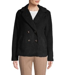 sanctuary women's free spirit faux fur jacket - black - size s