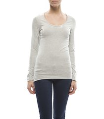 claesens ladies t-shirt round neck l/s grey