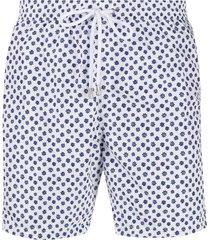 barba floral print swim shorts - white