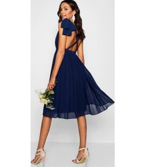 geplooide chiffon bruidsmeisjes midi skater jurk, marineblauw