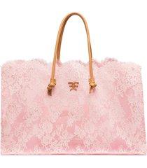 ermanno scervino floral-lace tote bag - pink