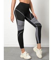 leggings de cintura alta con costuras en contraste de rayas negras