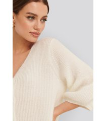 na-kd balloon sleeve short knitted cardigan - white