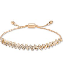 charter club gold-tone crystal textured slider bracelet, created for macy's