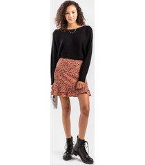 fayne leopard tiered mini skirt - rose