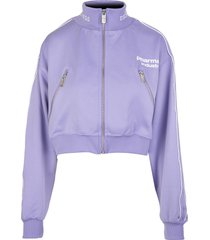 lilac zippered cropped woman sweatshirt with logo