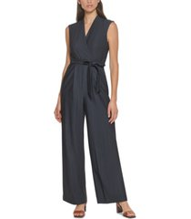 calvin klein belted chambray jumpsuit