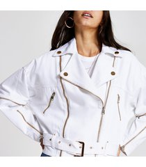 river island womens white zip front belted biker denim jacket
