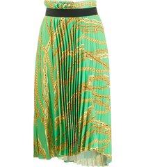 asymmetrical pleated chain-print skirt